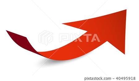 Red Arrow Symbol. Bent Paper Arrow Icon 40495918