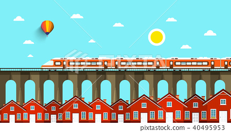 Train on Bridge. Abstract VEctor Landscape 40495953