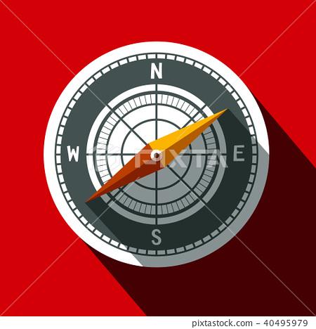 Compass Symbol. Long Shadow Flat Design 40495979