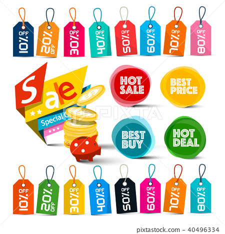 Discount Labels Set. Colorful Vector Tags. 40496334
