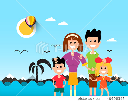 People on Beach with Ocean Waves and Palm Tree 40496345