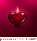 Heart Shaped Lit Candle. Vector Valentines Day 40496699
