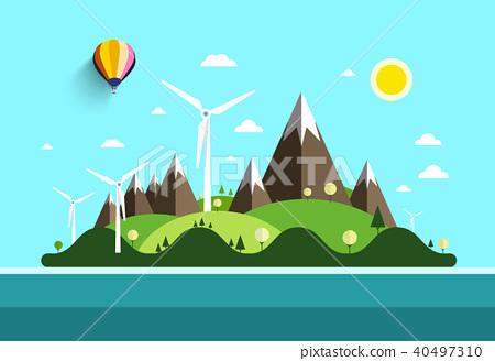 Flat Design Landscape. Island in Ocean. 40497310