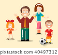 Happy Family Flat Design Vector Illustration 40497312