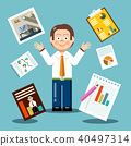 Vector Flat Design Businessman with Graphs 40497314