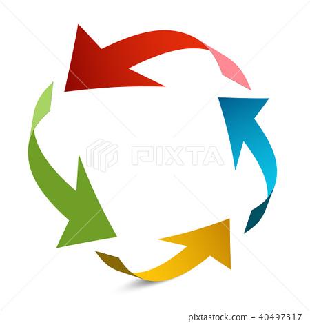 Arrows in Circle. Paper Arrow Vector Illustration. 40497317