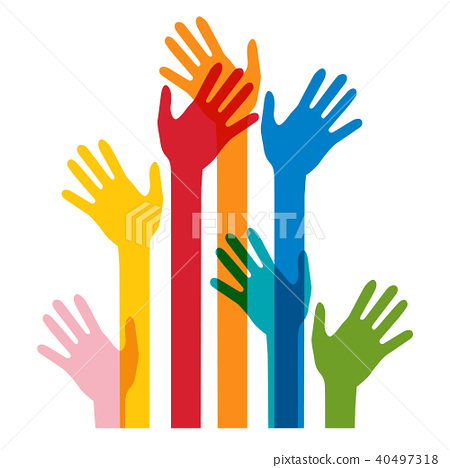 Colorful Human Hands Isolated on White Bckground 40497318