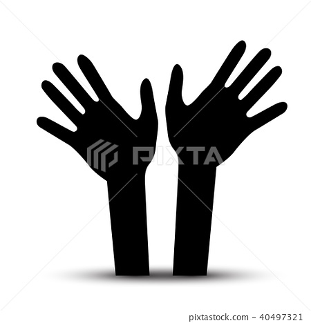 Human Hands. Vector Palm Hand Symbol. 40497321