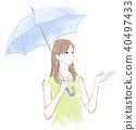 拿着伞的妇女 40497433