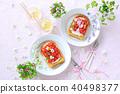 꽃 딸기 프렌치 토스트 40498377