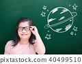 cute girl with green chalkboard 40499510