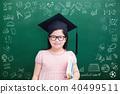 cute girl with green chalkboard 40499511