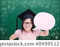 cute girl with green chalkboard 40499512