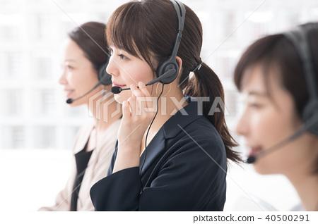 콜센터 운영자의 여성 3 명 40500291