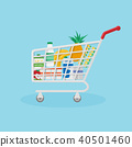Red shopping basket filled with useful natural products. 40501460