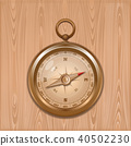 Elegant golden compass on a wooden background 40502230