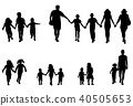 family and children holding hands silhouettes 40505653