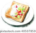 수채화로 그린 과일과 크림을 얹은 토스트 40507859