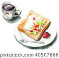 咖啡 吐司 白底 40507866