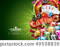Casino Illustration with roulette wheel and playing chips on green background. Vector gambling 40508830