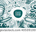 Vector hand drawn vegetables frame. Vintage style banner template. Vintage illustrations. Retro 40509100
