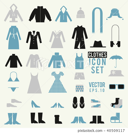 51e77d4e43 Clothing and shoes illustrations vector set. Shopping elements. Cute design vector  icons.