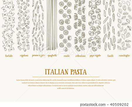 Vector banner with different types of traditional Italian pasta. Hand drawn background. Can be use 40509202