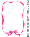 수채화로 그린 핑크 리본 프레임 40509392