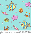 Doodle marine pattern with fish 40510730