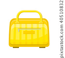 Flat vector icon of yellow handbag with zippered pocket. Hand luggage. Small travel bag for carry 40510832