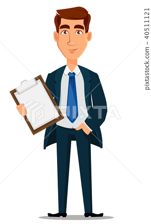 Business man in formal suit holding clipboard 40511121