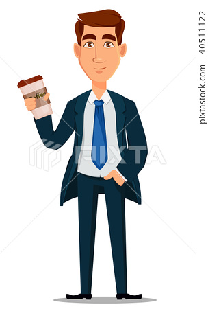 Business man in formal suit holding cup of coffee 40511122