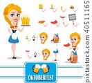 Oktoberfest sexy redhead girl character set 40511165