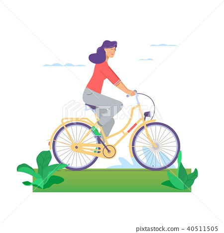 Beautiful Girl Happily Riding Bicycle In Flat Stock