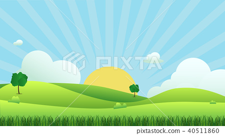 Meadow landscape with grass foreground 40511860