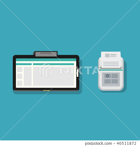 Flat tablet and mini printer with paper design  40511872