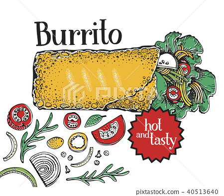 Burrito. Mexican food. Traditional mexican cuisine. Banner template. Vector hand drawn Illustration 40513640