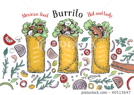 Burrito set. Mexican food. Traditional mexican cuisine. Banner template. Vector hand drawn 40513647