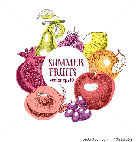 Fruits hand drawn vector frame. Banner template. Retro engraved style background. Can be use for 40513658