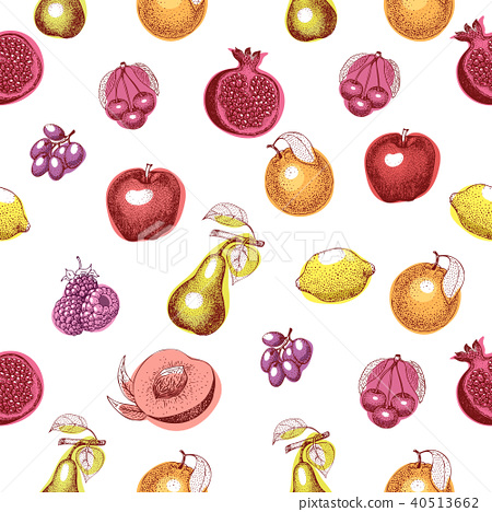 Fruits hand drawn vector seamless pattern. Retro engraved style background. Can be use for menu 40513662
