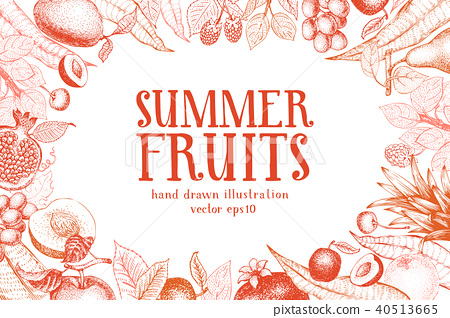 Fruits hand drawn vector background. Banner template. Retro engraved style background. Can be use 40513665