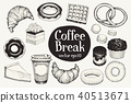 Coffee break. Dessert set. Vector hand drawn illustrations. Food vintage style. Can be use for 40513671