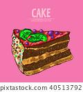 cake sketch food 40513792