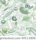 Vegetables vector seamless pattern. Retro engraved style background. Hand drawn illustration. Can be 40513806