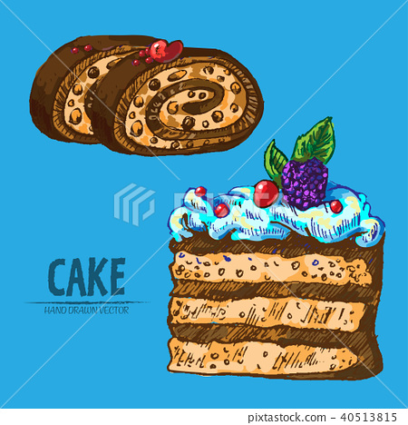 Digital vector detailed line art cake roll 40513815