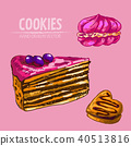 Digital vector detailed line art cakes slices 40513816