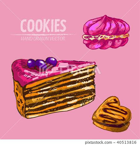 Digital vector detailed line art cakes slices 40513816
