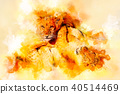 Two cute lion cubs playing together and softly blurred watercolor background. 40514469