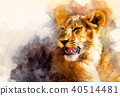cute lion and graphivc effect. Softly blurred watercolor background. 40514481