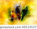 Colored parrots and softly blurred watercolor background. 40514537